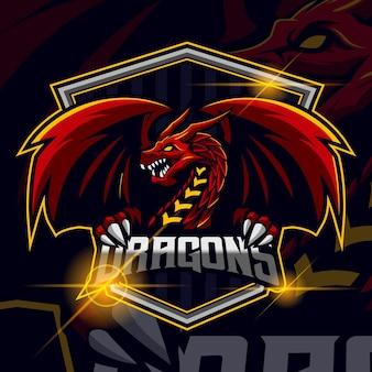 Ilustração em vetor design de modelo de logotipo de dragon esport
