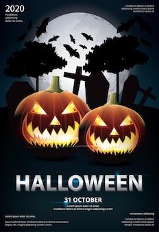 Ilustração em vetor design de modelo de pôster de halloween