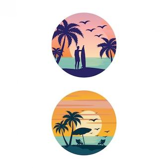 Ilustração em vetor design de praia verão