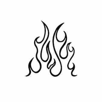 Ilustração em vetor design de tatuagem de logotipo de símbolo de fogo