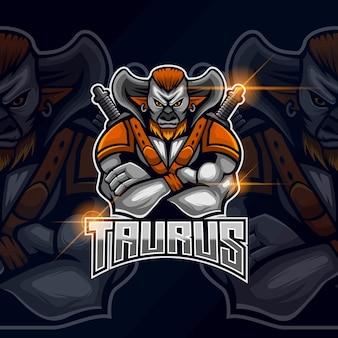 Ilustração em vetor design do modelo de logotipo taurus esport