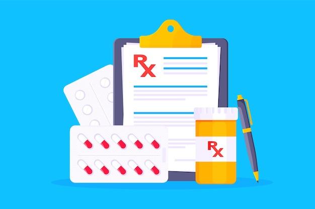Ilustração em vetor design estilo plano de prescrição médica rx