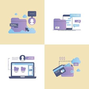 Ilustração em vetor design fluxo de débito e crédito