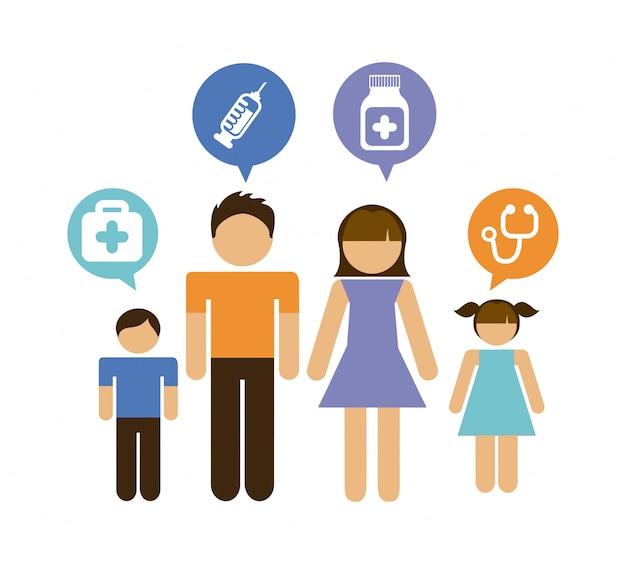 Ilustração em vetor design gráfico família