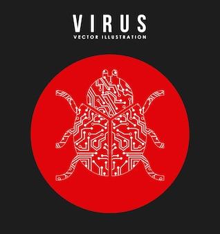 Ilustração em vetor design gráfico vírus