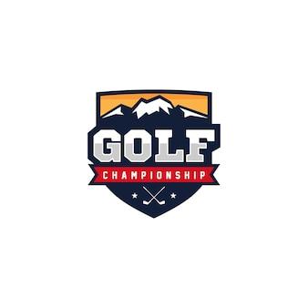 Ilustração em vetor design logotipo distintivo de golfe
