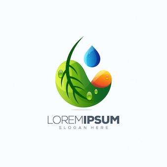Ilustração em vetor design logotipo folha pronta para uso