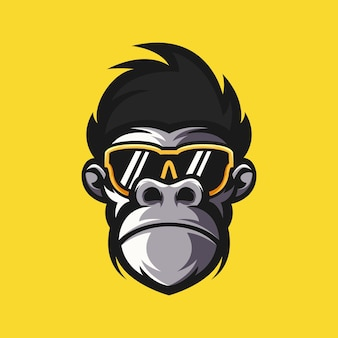 Ilustração em vetor design logotipo macaco