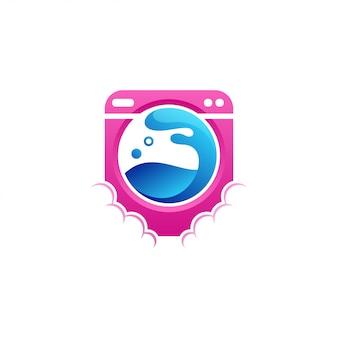 Ilustração em vetor design logotipo máquina de lavar roupa