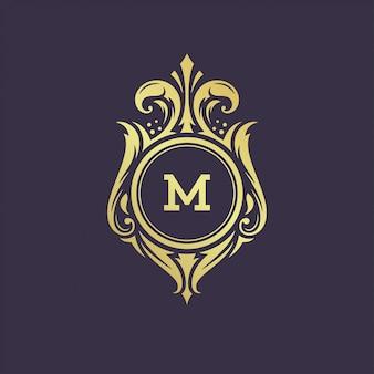 Ilustração em vetor design luxo modelo ornamento vintage monograma crista modelo.