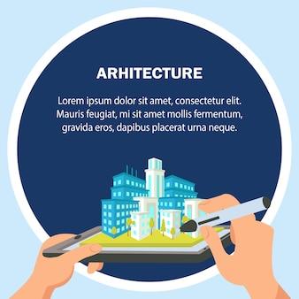 Ilustração em vetor design plano arquitetura