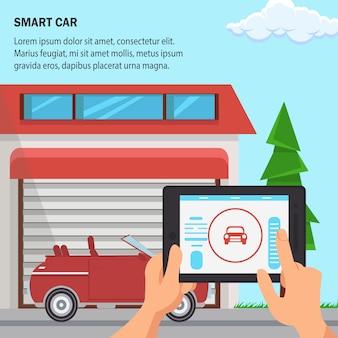 Ilustração em vetor design plano carro inteligente.