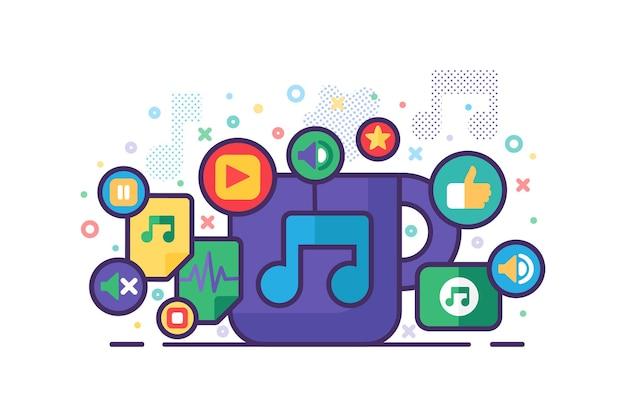 Ilustração em vetor design plano colorido banner de música