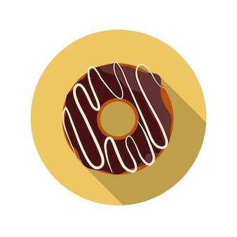 Ilustração em vetor design plano conceito chocolate donut com sombra longa. eps10