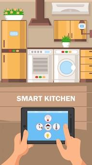 Ilustração em vetor design plano cozinha inteligente.