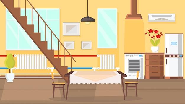 Ilustração em vetor design plano interior quarto.