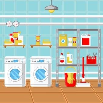 Ilustração em vetor design plano lavandaria quarto.