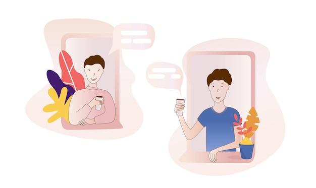 Ilustração em vetor design plano moderno de personagem de dois vizinhos