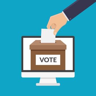 Ilustração em vetor design plano on-line voto conceito