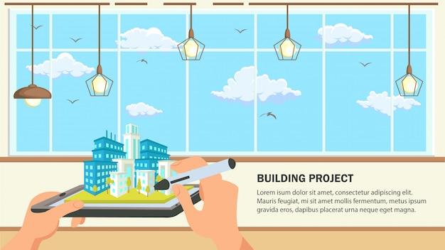 Ilustração em vetor design plano projeto de construção.