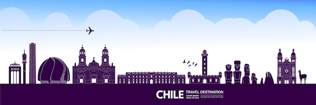 Ilustração em vetor destino viagem chile.