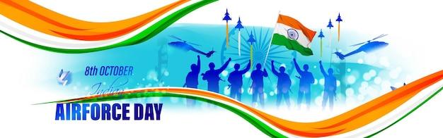 Ilustração em vetor-dia da força aérea indiana de programas aéreos a jato da índia em fundo abstrato
