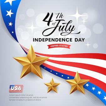 Ilustração em vetor dia da independência da américa e estrelas douradas.