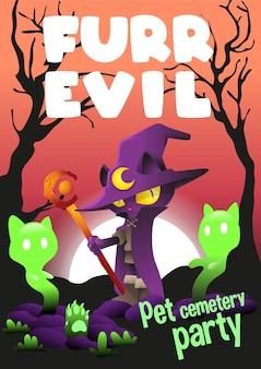 Ilustração em vetor dia das bruxas com pêlo malvado e fofo gato