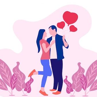 Ilustração em vetor dia dos namorados com casal apaixonado.