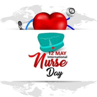 Ilustração em vetor dia internacional da enfermeira com equipamento médico