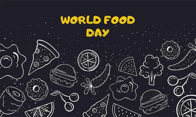Ilustração em vetor dia mundial da alimentação em preto e branco doodle arte em fundo bonito.