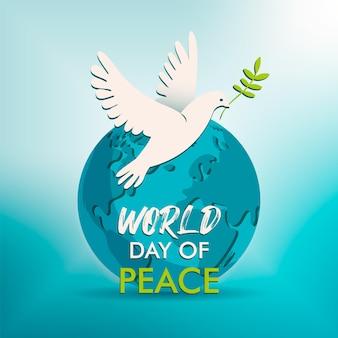 Ilustração em vetor dia mundial da paz pomba branca ave da paz com ramo de oliveira.