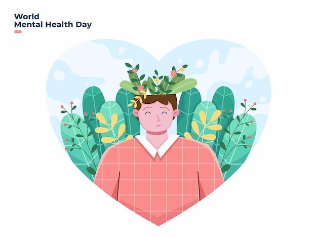 Ilustração em vetor dia mundial da saúde mental 10 de outubro com elemento floral