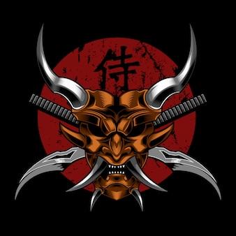 Ilustração em vetor diabo samurai mal