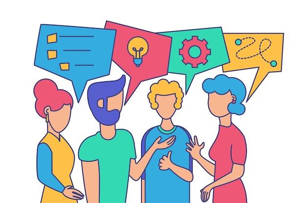Ilustração em vetor diálogo amigável com colegas de trabalho. criação de equipe, brainstorm, desenho de contorno de coworking