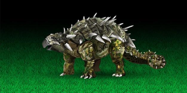 Ilustração em vetor dinossauro anquilossauro em estilo realista, um animal do período jurássico simila ...