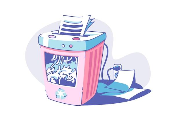 Ilustração em vetor dispositivo triturador de arquivo. destruindo documentos para um estilo plano de segurança. artigos de papelaria do escritório e conceito de máquina elétrica. isolado