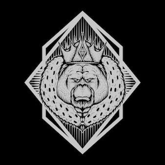 Ilustração em vetor distintivo orangotango rei
