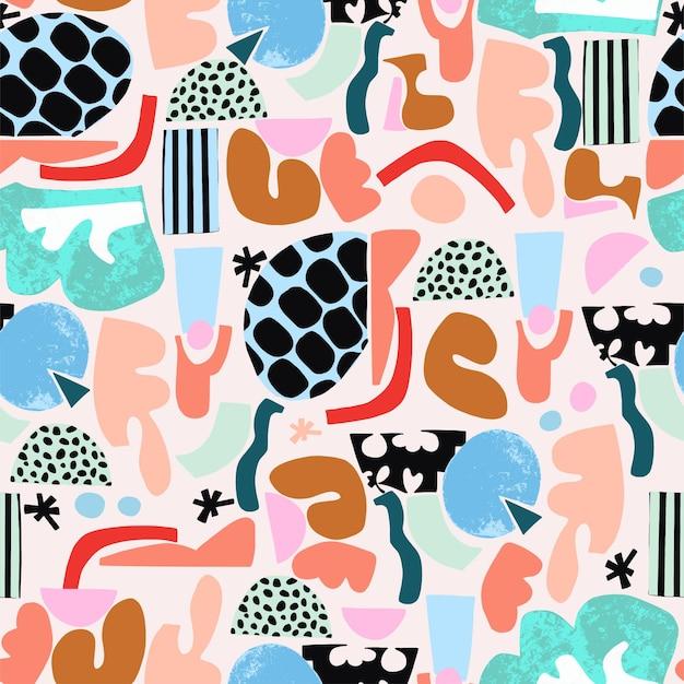 Ilustração em vetor divertido e colorido abstrato pincel formas ilustração padrão de repetição perfeita decoração para casa