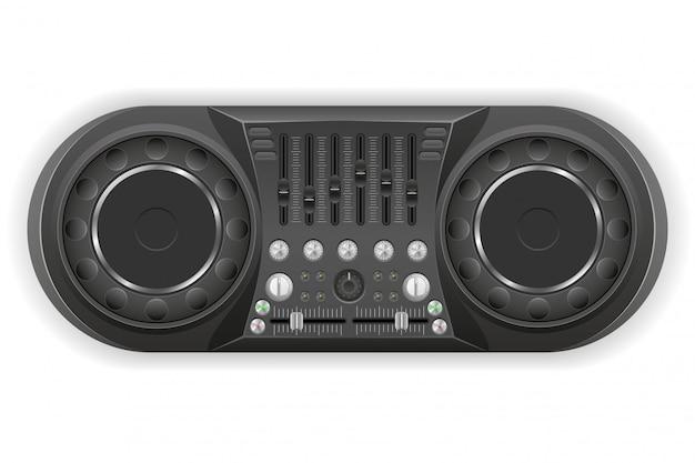 Ilustração em vetor dj painel console mixer de som