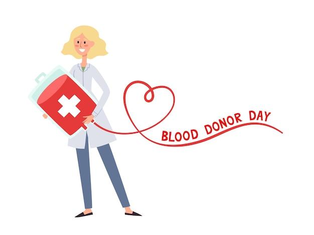 Ilustração em vetor do conceito de doação de sangue com uma enfermeira em pé segurando uma bolsa de sangue descartável e uma forma de coração isolada em branco usada para o pôster do dia do doador, site do hospital, revista