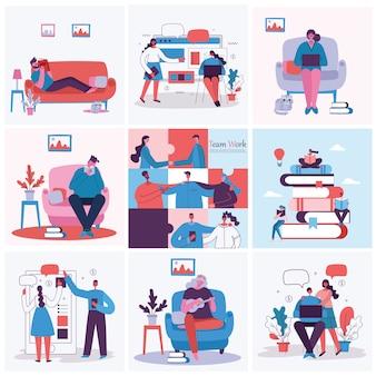 Ilustração em vetor do conceito de trabalho em equipe, negócios e start up