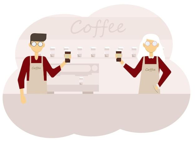 Ilustração em vetor do interior da cafeteria e equipe do barista homem e mulher com xícaras de café