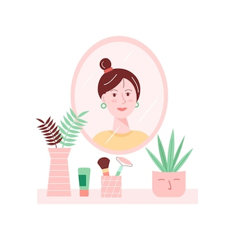 Ilustração em vetor do interior de casa com a garota olhando no espelho.