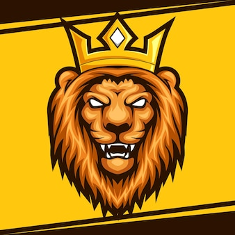 Ilustração em vetor do logotipo do mascote do leão principal esport