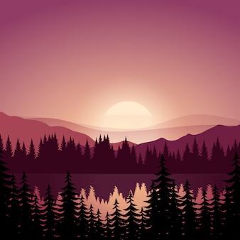 Ilustração em vetor do pôr do sol com rio e floresta de pinheiros