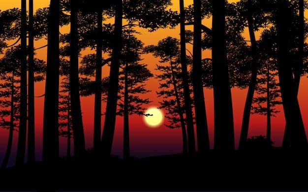 Ilustração em vetor do pôr do sol na floresta