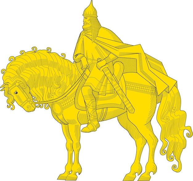 Ilustração em vetor do velho cavaleiro russo com uma espada na armadura e um capacete no cavalo