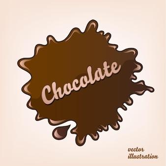 Ilustração em vetor doce respingo de chocolate marrom escuro isolado