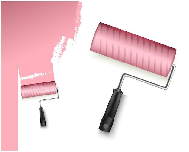 Ilustração em vetor dois com rolo de pintura grande e pequeno e marcação pintada de cor rosa isolada no branco